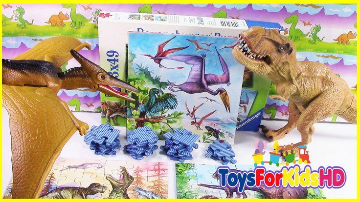 Los Dinosaurios para niños Puzzle Reptiles Voladores - Videos de Dinosau...