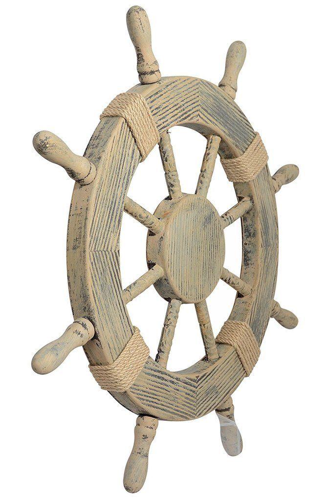 Nautical Decor 24 Wood Look Pirate S Ship Wheel Marine Wall Decor Nautical Decor 24 Wood Look Pirate S S In 2020 Ship Wheel Decor Pirate Ship Wheel Nautical Decor