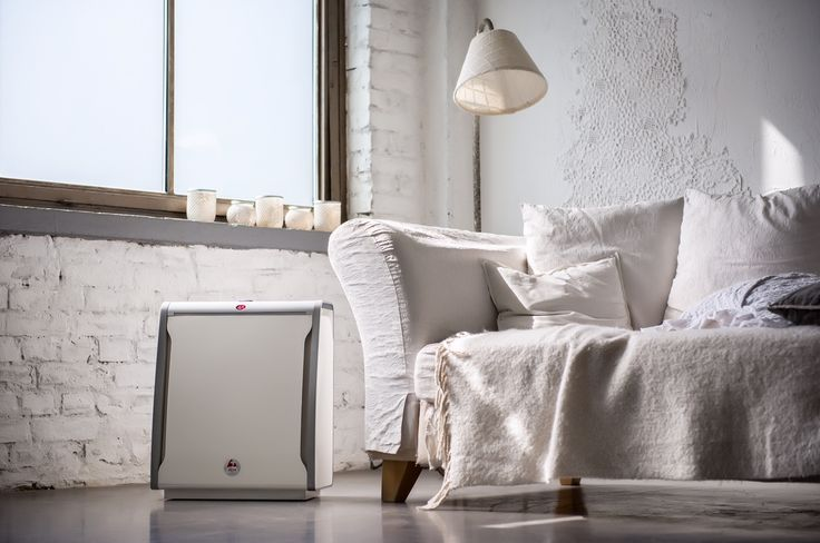 Loft interior design with raw white walls, minimalist-industrial style and Lux Aeroguard 4S Air Purifier.