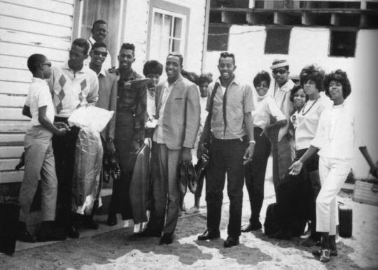 Berry Gordy's Motortown Revue. From left: Stevie Wonder, The Temptations, Eddie Kendricks, Elbridge Bryant, Uriel Jones, Otis Williams, Paul Williams, Melvin Franklin, Diana Ross, Robert Bullock, Patrice Gordy, Florence Ballard and Mary Wilson.