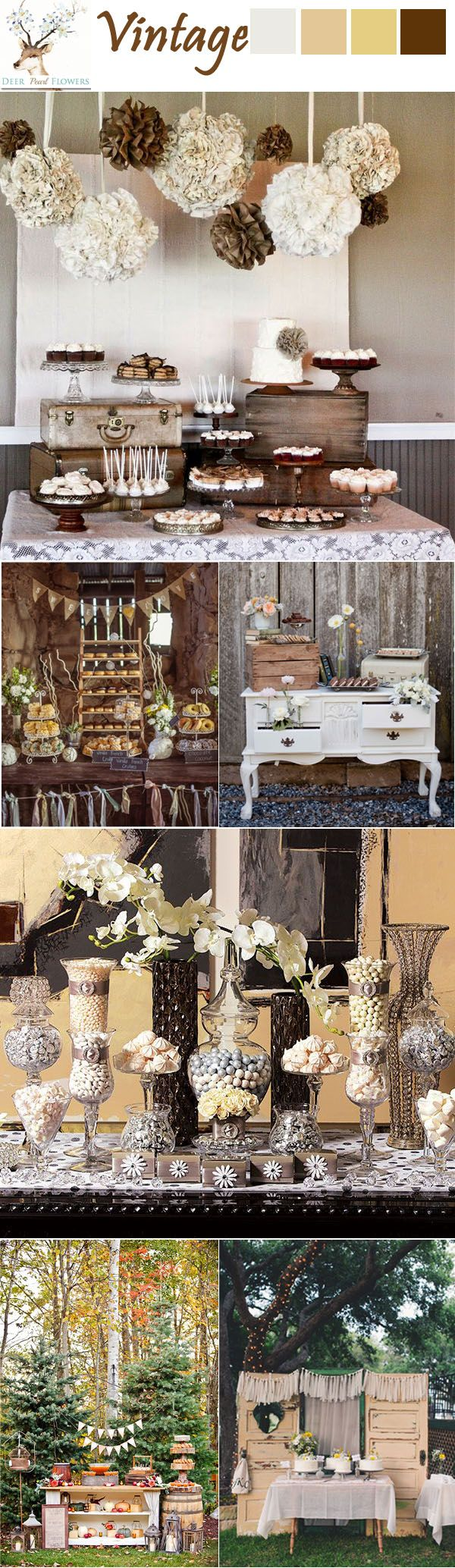 top 6 vintage chic rustic wedding table dessert ideas