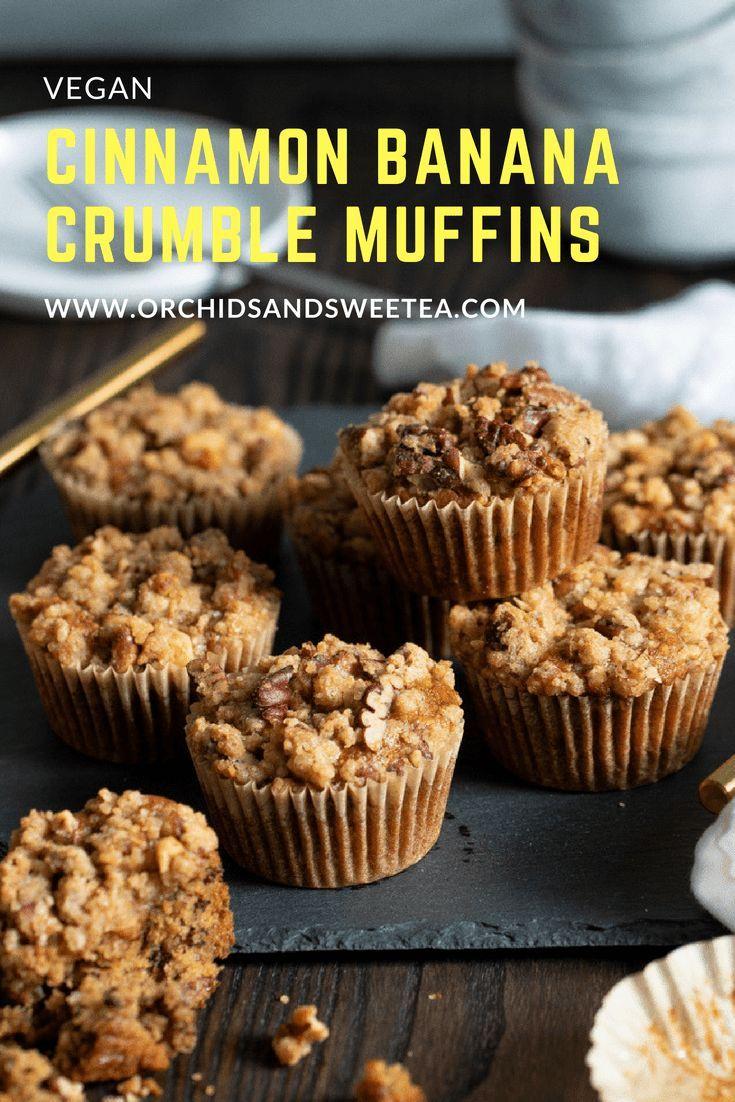 Vegan Cinnamon Banana Crumble Muffins