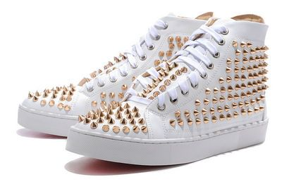 Christian Louboutin Mens Studded Sneakers White Red Bottom Shoes