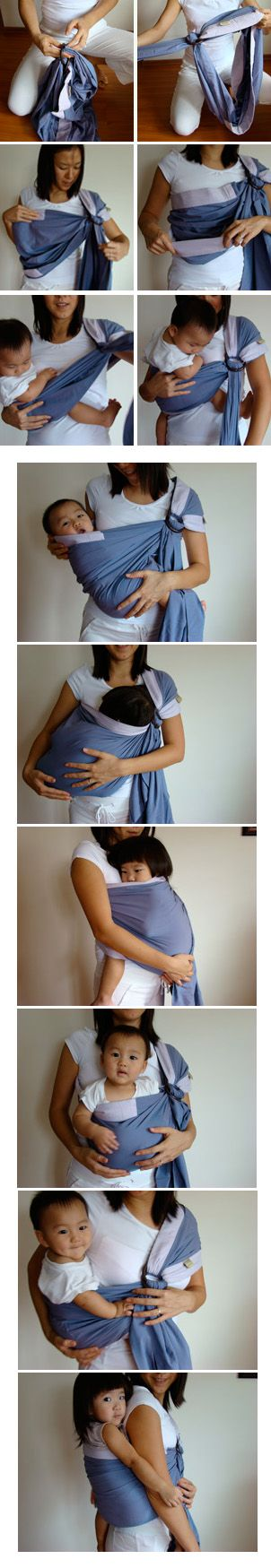 Baby Ring Sling - how to and step by step tutorial on different baby positions