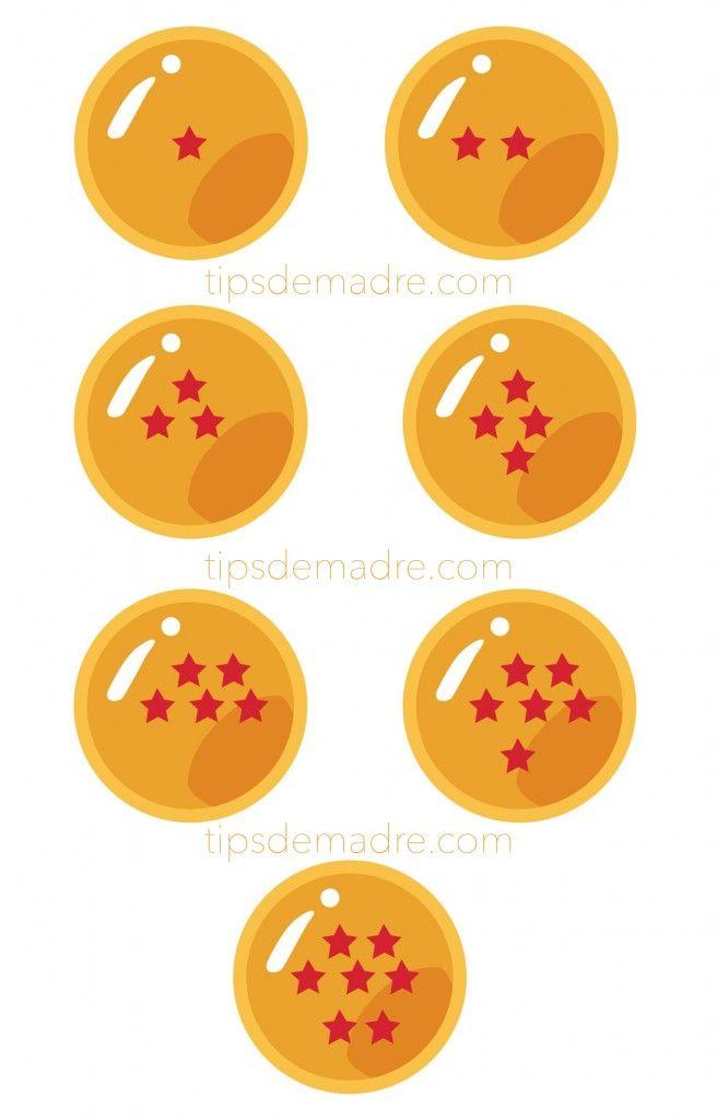 esferas-del-dragon Los detalles para los niños,muy originales, gorros, vasos, centros de mesa y decoración con algún adorno, harán que tu fiesta sea maravillosa, te paso un imprimible de esferas del dragón -sólo da click para hacer en grande- Dragon Ball, Dragon Ball Z, ideas