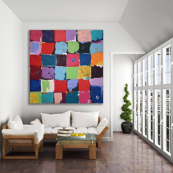 Original abstract painting created in my studio, Calgary, Canada. ~ COLORS: blues, red, teal, pink, magenta, purple, violet, black, white, green, turquoise, orange, coral and yellow ~ MEDIUM: Professional grade acrylic paints and mediums. Finished with a clear varnish to protect