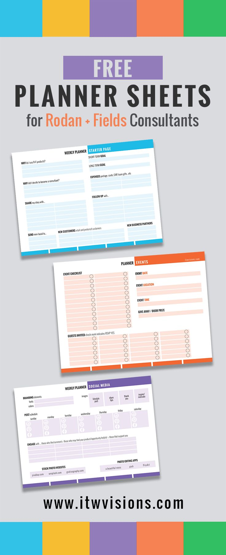 Rodan and Fields Business Checklist and Planner Sheets, Calendar, Organizer, free download, organize, grow your business, build a team, gain new business partners, direct sales, marketing for direct sales, marketing materials for direct sales consultants, template, templates, planner, planning, how to stay organized and grow your business.