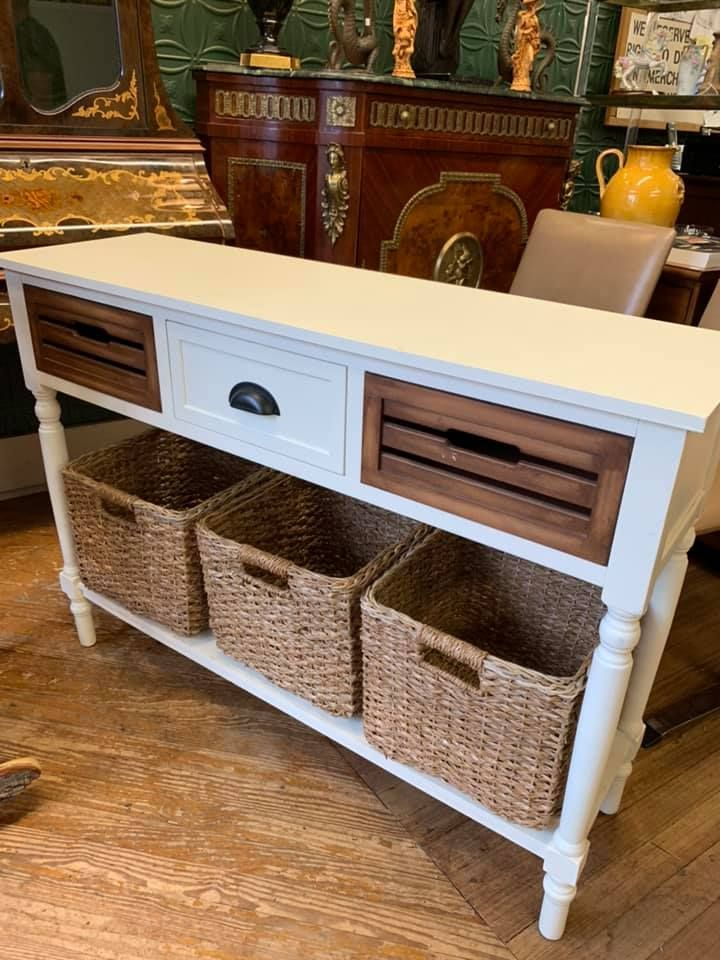 White Console Table With Baskets Home Decor - White Console Table With Storage Baskets