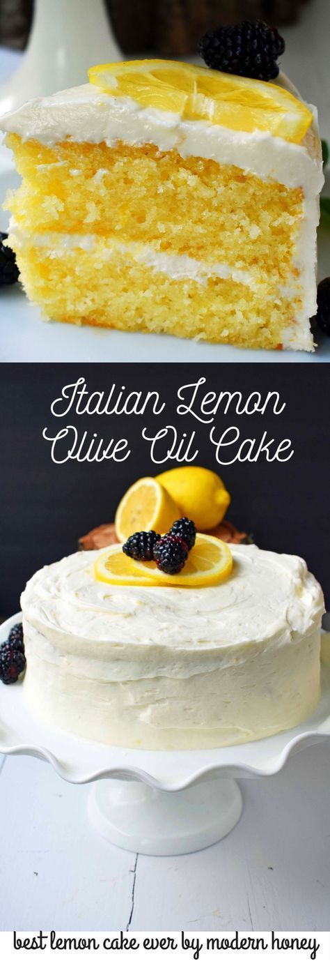 Italian Lemon Olive Oil Cake with Lemon Vanilla Cream Cheese Frosting is the best lemon cake recipe. Moist and tender lemon cake every single time.