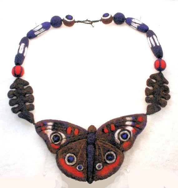 Buckeye Butterfly needle felted Necklace by bjmaiee, via Flickr