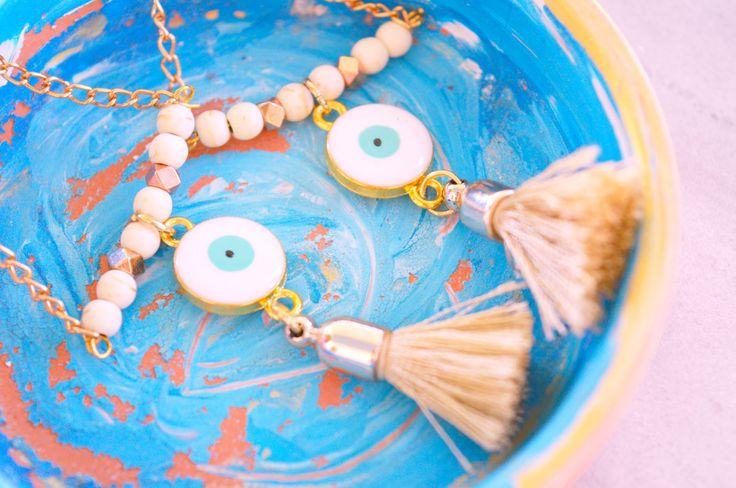 happy girly crafty: Grecian chic evil eye and tassel statement earrings DIY