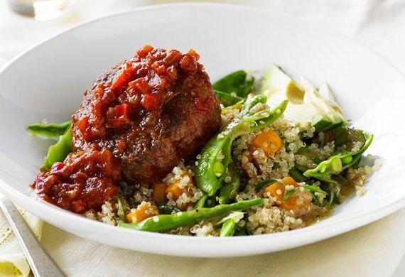 Spanish beef rissoles with quinoa salad recipe - 9Kitchen