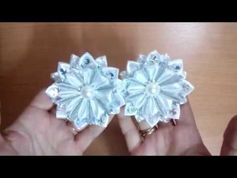 Новогодняя снежинка резинка из лент канзаши/ DIY Kanzashi Christmas Snowflake - YouTube