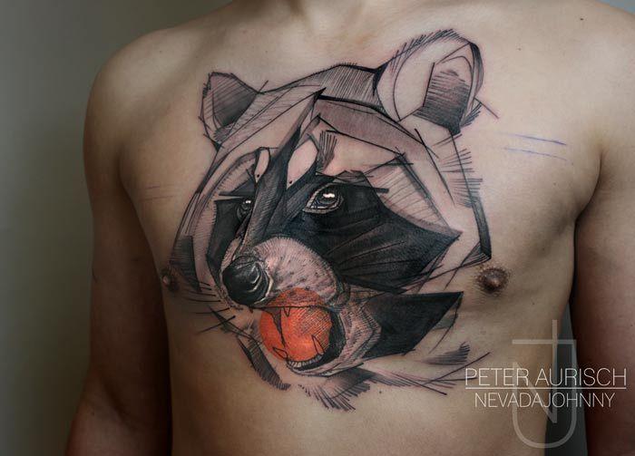 Peter Aurisch - Abstract Chest Raccoon Tattoo | Tattoo ...