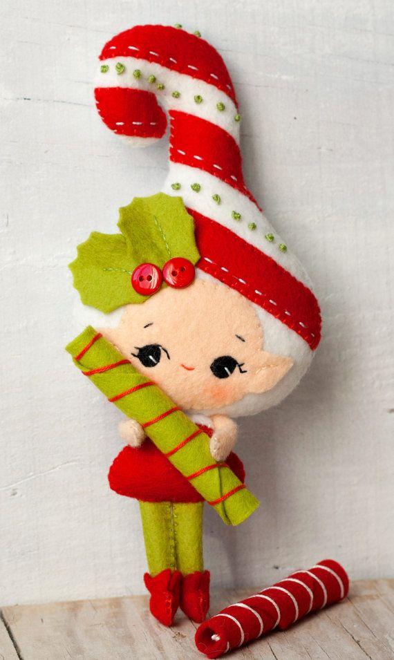 PDF. Candy cane elf. Plush Doll Pattern, Softie Pattern, Soft felt Toy Pattern..via Etsy.