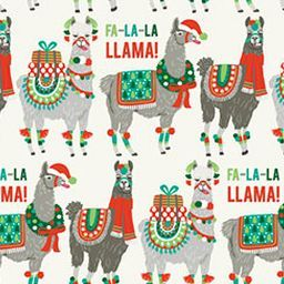 This whimsical print features Llamas dressed in green and red Christmas themed outfits along side the words Fa-la-la-llama! Present loved ones with holiday gifts wrapped in our quirky llamas and you'r