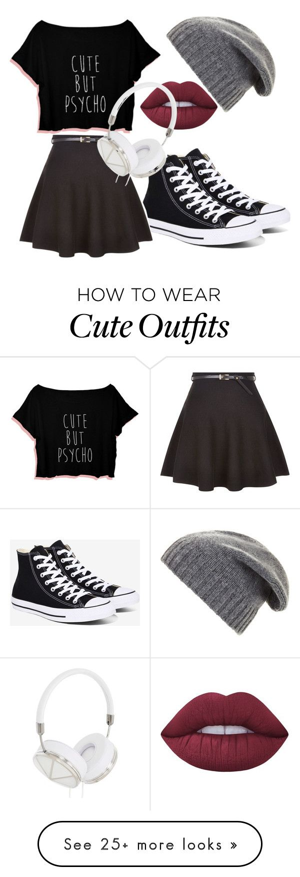 """My First Polyvore Outfit"" by samanthassump on Polyvore featuring BCBGMAXAZRIA, Converse, New Look, Lime Crime and Frends"