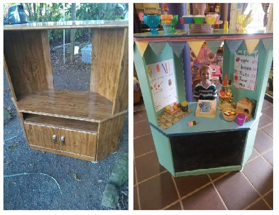 D.I.Y Ice Cream Stand - upcycled from old corner TV cabinet