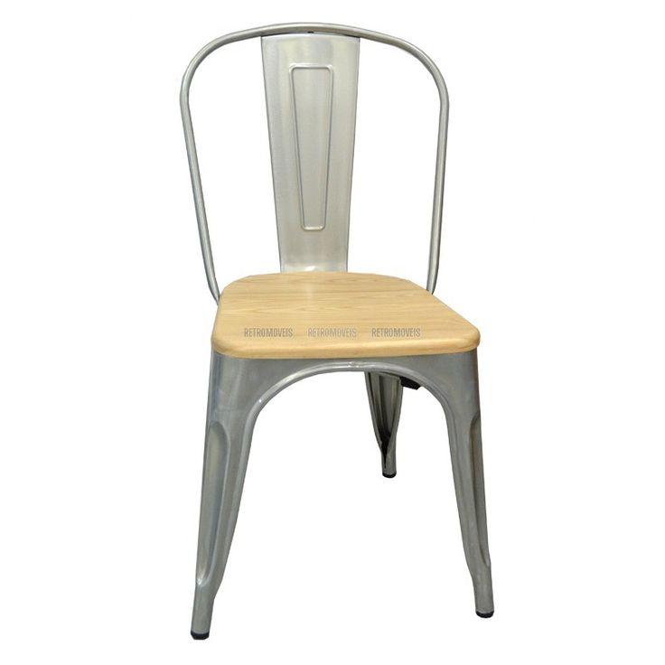 Cadeira Retro Café Assento de Madeira