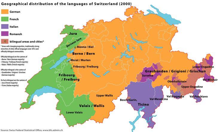 Языки в Швейцарии - на каких языка говорят в Швейцарии