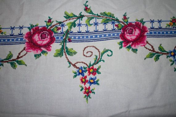 Rectangular Hand embroidered cross stitch by TASMANIANBEAUTIES