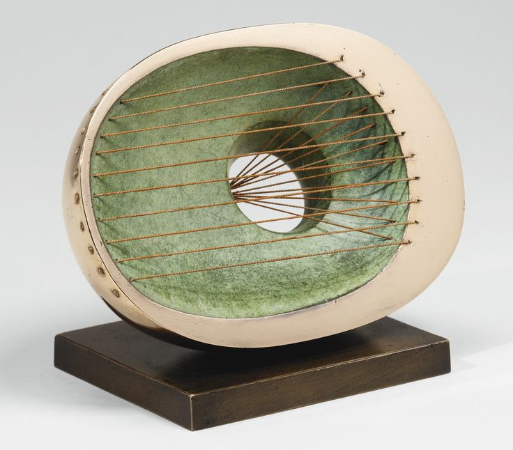 Barbara Hepworth 1903 - 1975 HOLLOW OVAL Inscribed with the initials BH, numbered 3/9 and inscribed with the foundry mark MS. Bronze and string. Length: 7 3/8 in. Conceived in 1965 and cast in an edition of 9 plus 1 artist's proof by Morris Singer Founders, London.