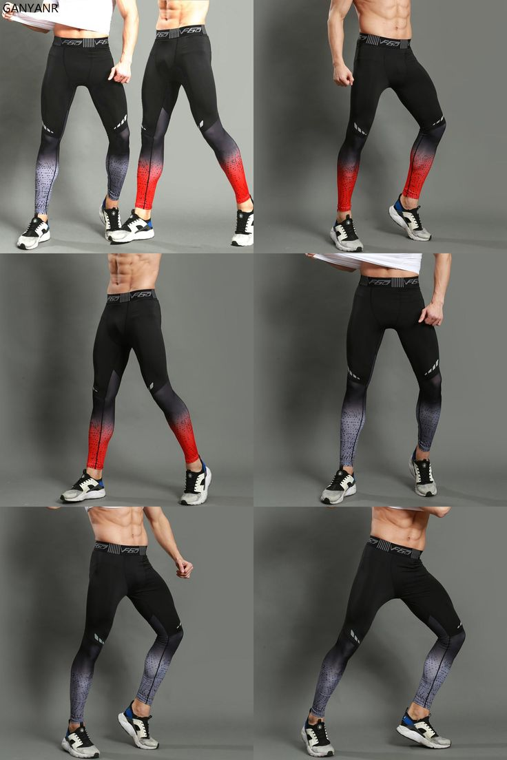 [Visit to Buy] GANYANR Brand Running Tights Men Sports Leggings Sportswear Yoga Trousers Yoga Pants Plus Size Fitness Compression Sexy Gym 2017 #Advertisement