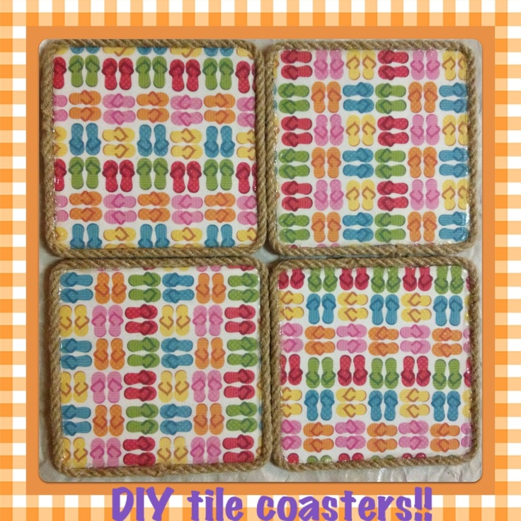 DIY tile coasters for the summer!!
