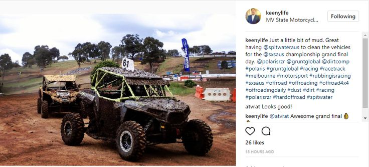 """Reposting from Mathew Keene:  """"Just a little bit of mud. Great having Spitwater to clean the vehicles for the SXS Australian Championship grand final day."""""""