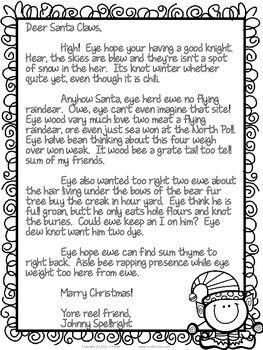 Deer Santa Claws - A FREE Christmas Homonym Activity
