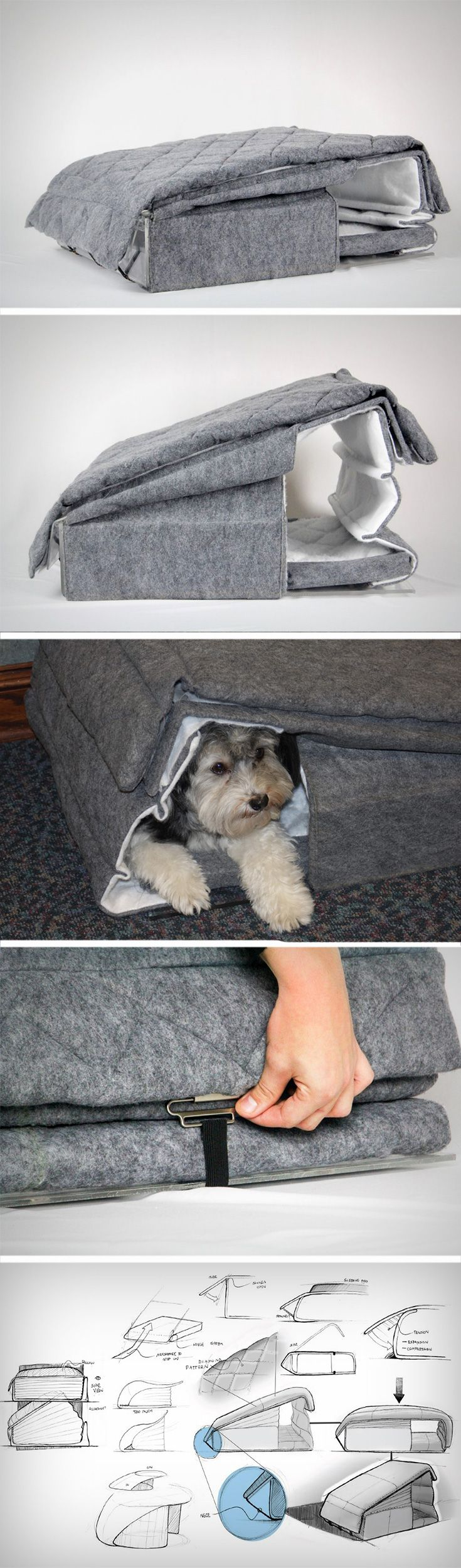 The Furfort is designed for animals, to have their own personal protective space or when folded down it can be used as a bed/mattress.