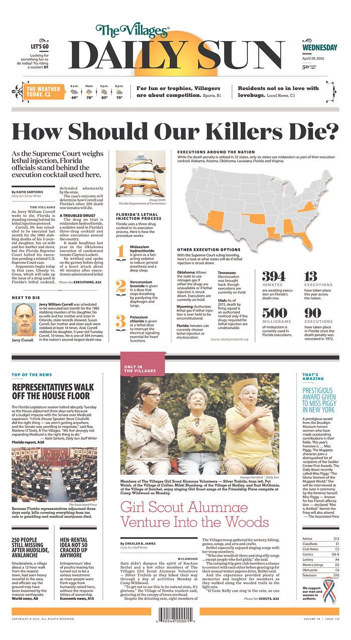 The Villages (Fla.) Daily Sun for April 29, 2015, via Today's Front Pages   Newseum #newspaper #newsdesign