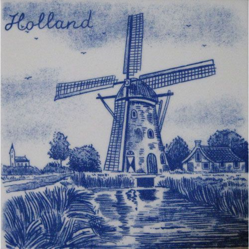 Delft blue tile. There's a windmill and the text Holland on the tile ...