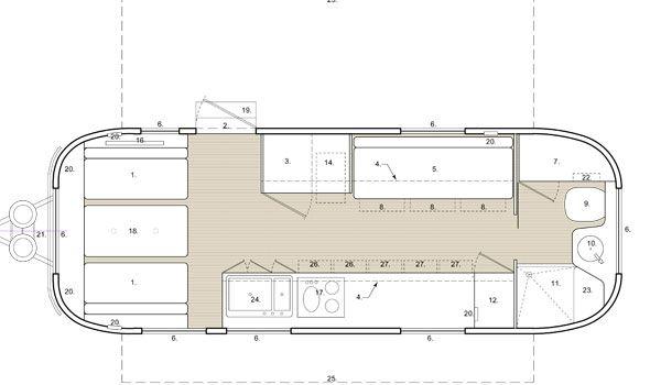 Airstream 1978 Renovation Floor Plan