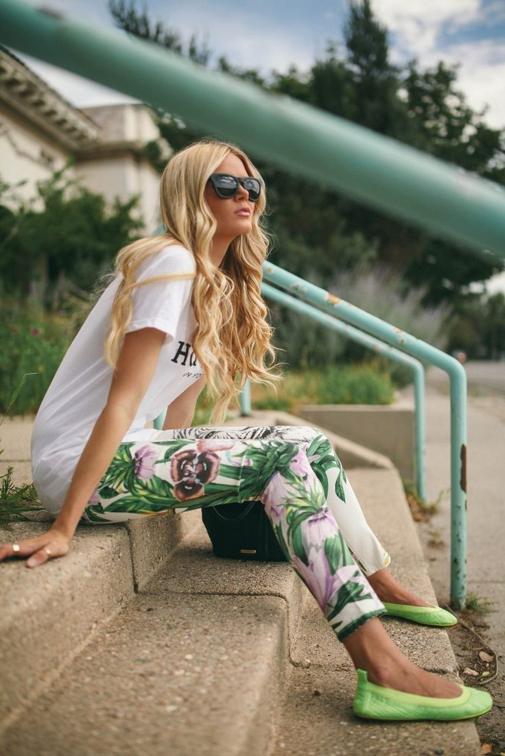 Graphic tee, floral skinnies and bright green flats
