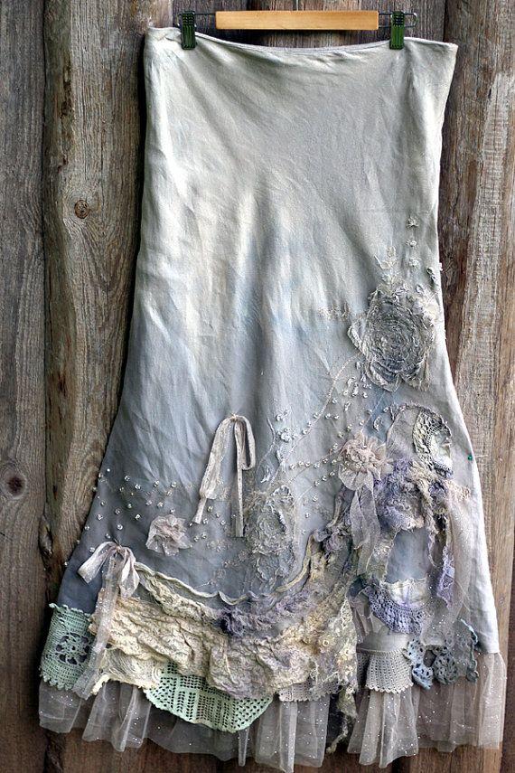 RESERVED Barocco skirt romantic maxi skirt L by FleursBoheme