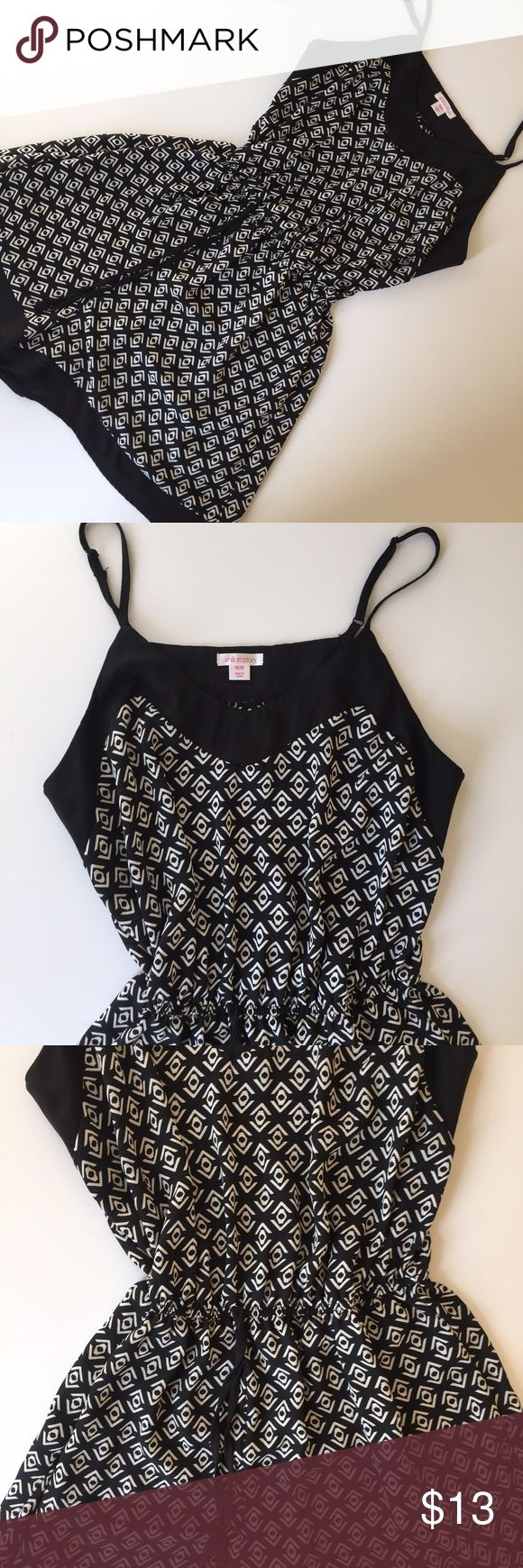 Black and white romper Pattern black and white shorts black and white romper with tie in front. Cute with sneakers, sandals or wedges. Xhilaration Other