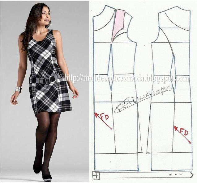 Este modelo de vestido quadriculado preto e branco foi proposto por uma seguidora. Achei que seria boa ideia porque é um modelo que fica sempre bem.