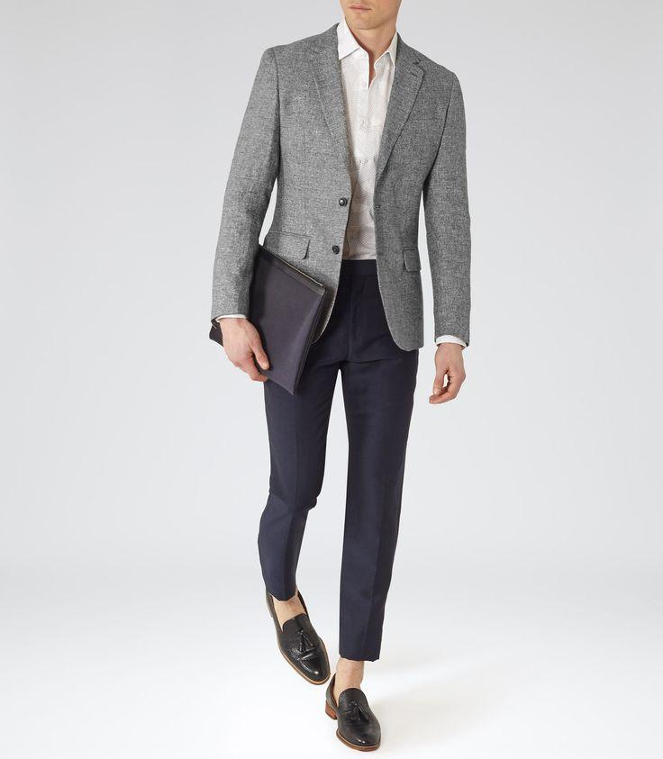 Mens Grey Melange Linen Blazer - Reiss Foster B