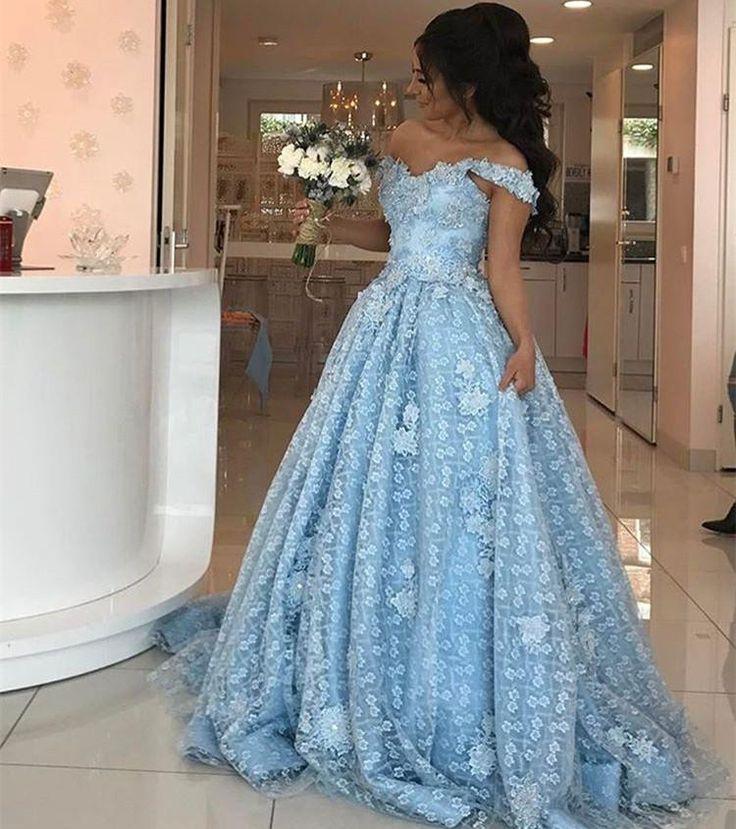 Elgant Off-the-Shoulder Blue Evening Dresses 2018 Lace Appliques Prom Dresses ,Meet Dresses