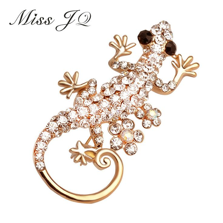 [Miss JQ] New Arrival Broches Jewelry Fashion Personality Broches Crystal Rhinestone Lizard Animal Brooches Gold Plated broche-in Brooches from Jewelry & Accessories on Aliexpress.com | Alibaba Group
