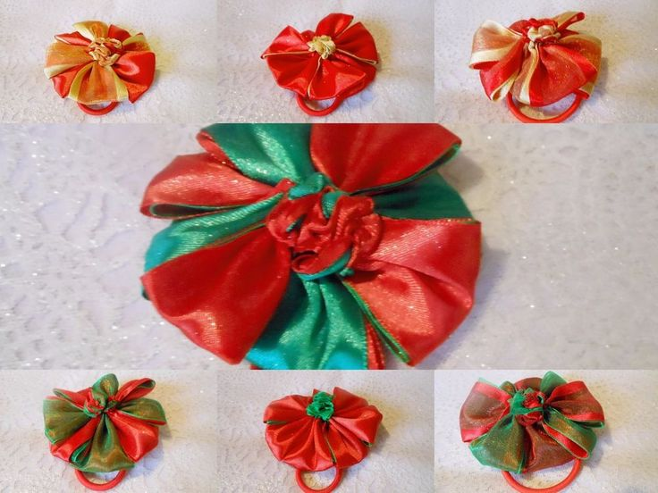XMAS GIRLS PARTY PETAL BOBBLE SCRUNCHIE SATIN CHIFFON RIBBON HAIR ACCESSORY #HandmadebyBONNIEBOBBLES