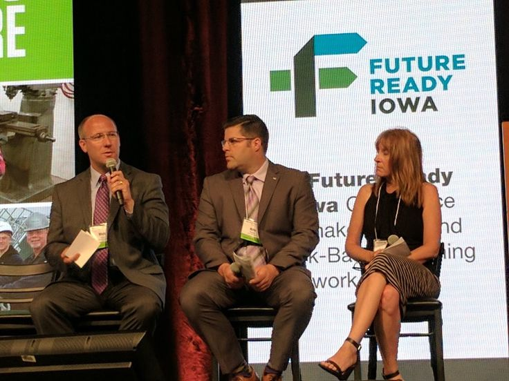 A panel on Model Partnerships at the Fast-Track Iowa's Future conference consisted of Nick Glew (President of the Marion Economic Development Corporation), Kris Byam (Principal of Boone High School, a STEM BEST School) and Jennifer Hartman (Principal of North Cedar Elementary School, a STEM BEST School). They discussed their work-based learning programs and why these partnerships are so important.