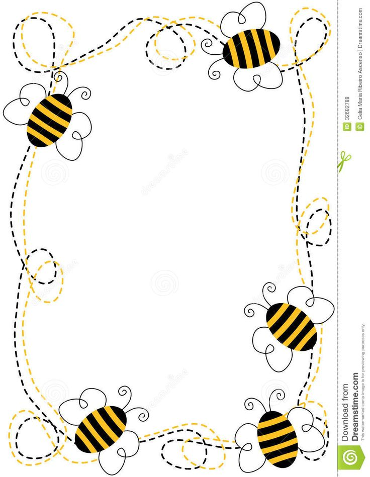 Bee Border Clip Art | Border frame with flying bees. By Celia Maria Ribeiro Ascenso .