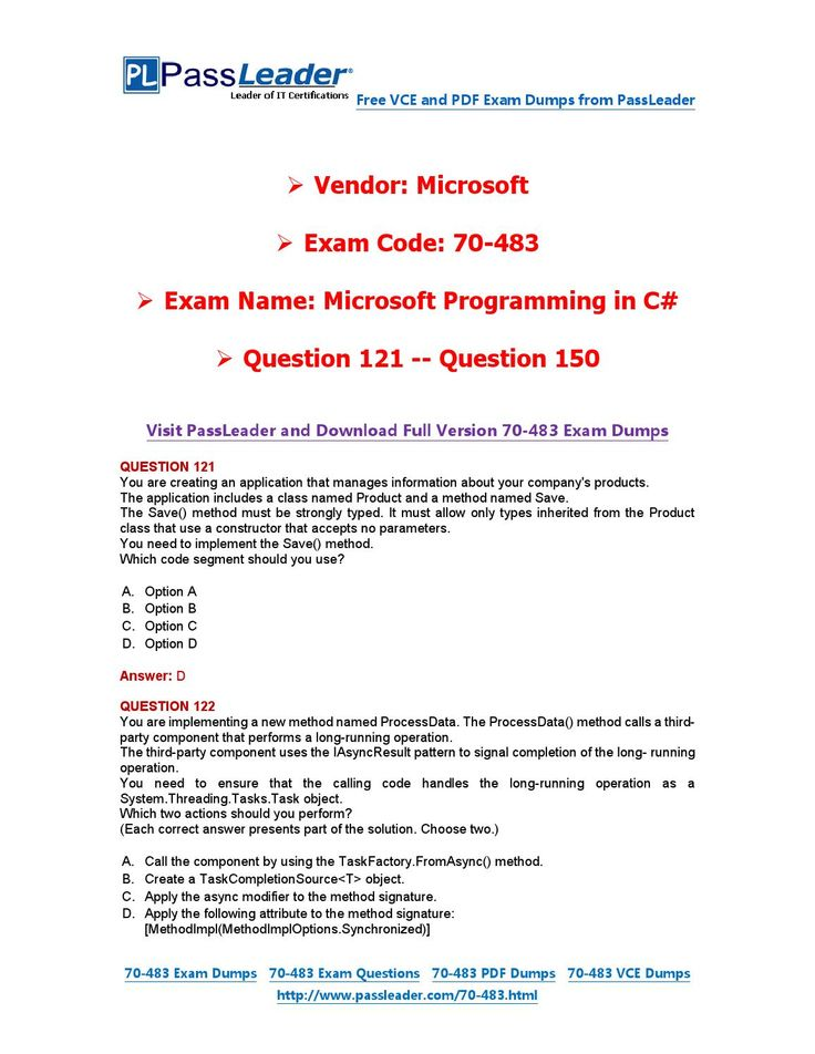 70-483 Exam Dumps with PDF and VCE Download (121-150)
