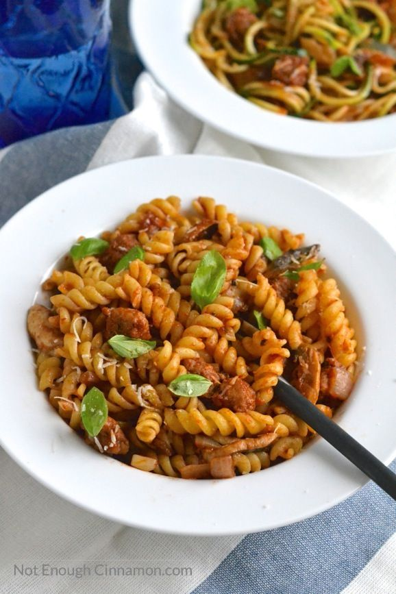 Italian Sausage Pasta (with Fusilli or Zucchini Noodles)