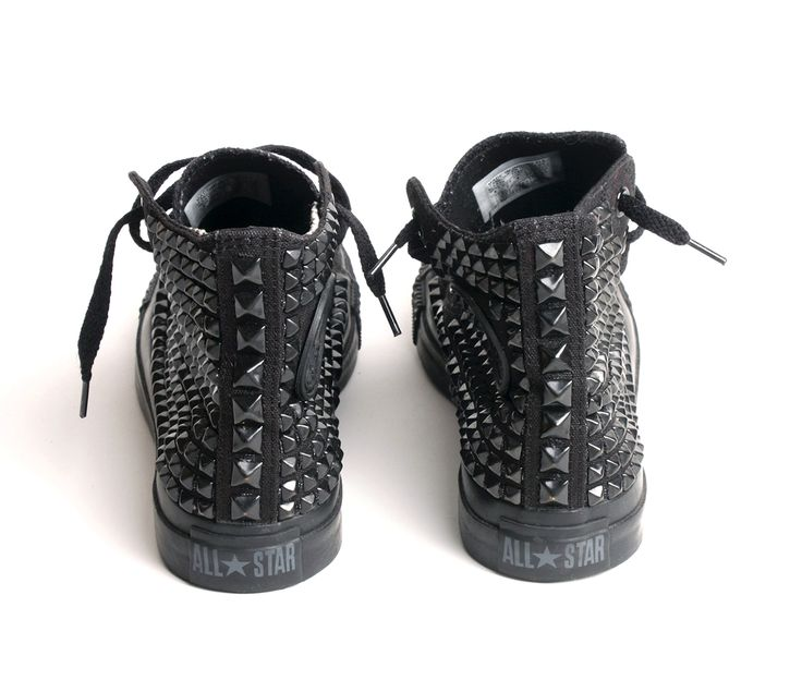Created by Fortune Studded black on black Converse sneakers