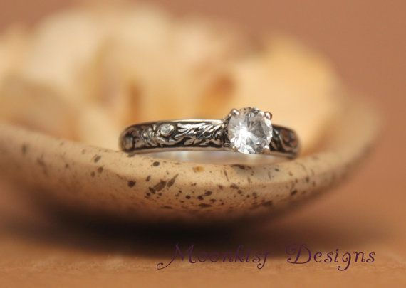 White Sapphire Engagement Ring in Sterling Silver - Floral Scroll and Vine Pattern Ring - Commitment Ring, Promise Ring - Tendril and Vine by moonkistdesigns on Etsy