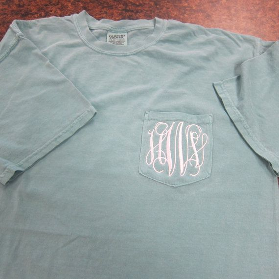 comfort color monogrammed pocket t
