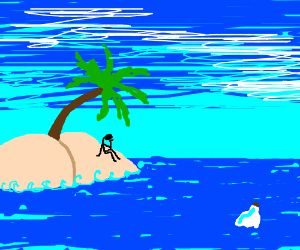 lone survivor on the tropical island